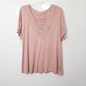 Maurices VNeck Lace Cold Shoulder Tee Mauve Pink